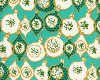 Tinsel Ornament in Metallic Teal, Melody Miller, Cotton+Steel, RJR Fabrics, 100% Cotton Fabric, 5014-1