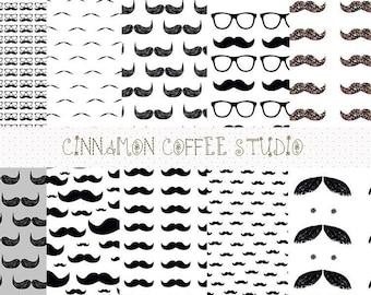 moustache digital papers set, moustache patterns, moustache backgrounds, glasses and moustache set of 10