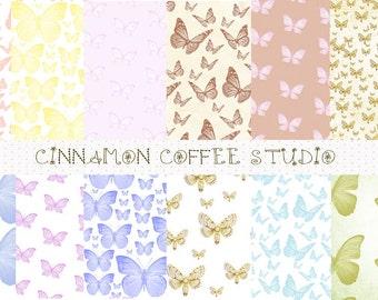 Butterfly Digital Papers, Romantic Butterflies Backgrounds, Butterfly Texture, Retro Butterflies, Cute Butterflies Papers, Set of 12