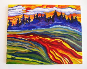 Abstract landscape painting, Original oil painting, colorful abstract sunset landscape, direct from artist