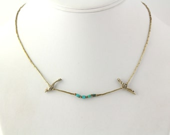 Turquoise Bird Native American Fetish Necklace - 925 Sterling Silver Women's Y1747