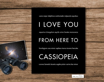Cassiopeia Art, Constellation Print, Cassiopeia Wall Art, Stars Astronomy, I Love You From Here To CASSIOPEIA