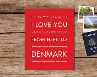 Denmark Art, Copenhagen Poster, Denmark Map, Denmark Poster, Europe Travel Gift, I Love You From Here To DENMARK, Shown in Bright Red