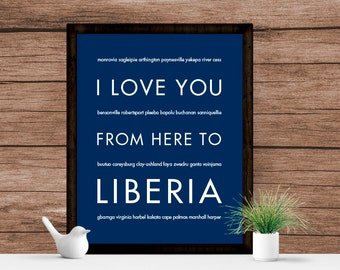 Liberia Africa Art, Travel Decor, Wall Hanging, Africa Canvas, I Love You From Here To Liberia, Shown in Navy Blue