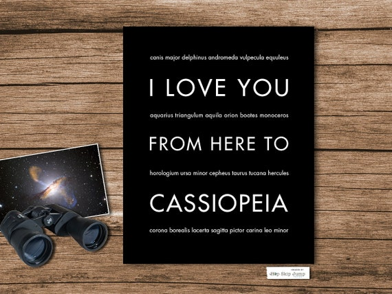 Constellation Poster, Stars Wall Art, Space Astronomy Mythology - I Love You From Here To CASSIOPEIA, Free U.S. Shipping