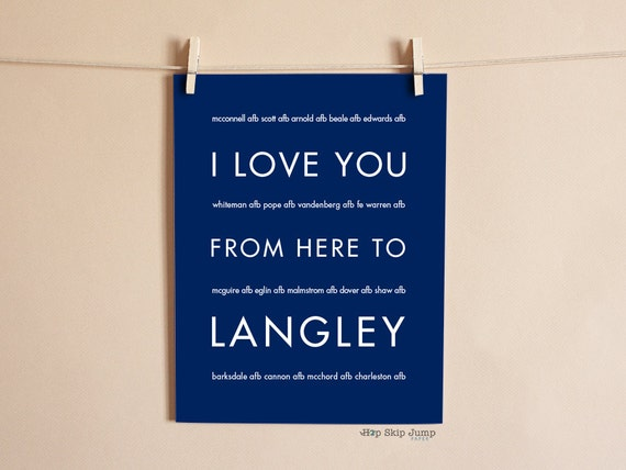 USAF Military Art, I Love You From Here To LANGLEY Shown in Navy Blue - Choose Color Canvas Frame, Retirement Deployment