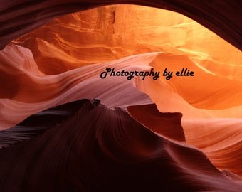 "Antelope Canyon, Nature Photograph, 8"" x 10"" Stunning, photogenic, natural canyon with orange hues, dramatic and striking to view"