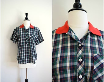 Vintage camp plaid boyfriend button up shirt / retro cotton blouse / red navy blue and green / short sleeve top