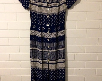 Vintage navy and white printed dress