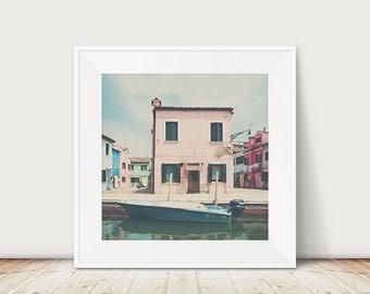 venice photograph, Italy, burano photograph, water, burano, travel photograph, venice, pink, house, blue, boat, rainbow