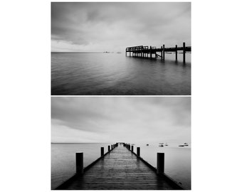 black and white photography  lake tahoe photograph pier photograph boat photograph california photograph storm photograph