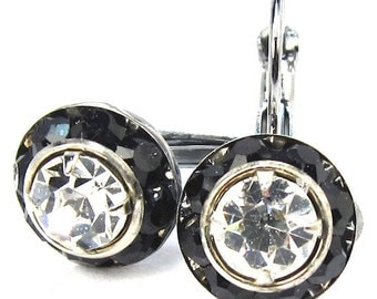 Jet Black and Crystal Swarovski Leverback Earrings