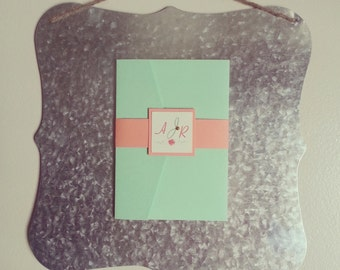 Magnetic Chic Mint Green, Coral and Gold Rose Pocket Fold Wedding Invitation