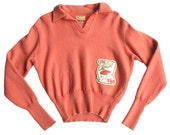 Vintage 1960s Coral Collegiate Collared Sweater