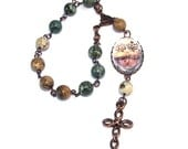Two Hearts Pocket Rosary, Natural Gemstone Beads & Copper Cross