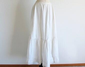 Antique White Petticoat, long White Cotton Skirt, Victorian Slip