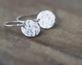 Minimalist Silver Earrings - Modern Minimal - Sterling Silver Hammered Earrings - Dangle Earrings Handmade Jewelry by Burnish