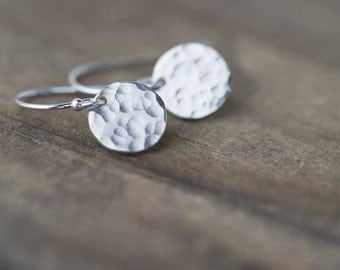 Sterling Silver Earrings Handmade, Summer Outdoors Party Minimalist Hammered Dangle Disc Earrings, Gift for Women, Handmade by Burnish