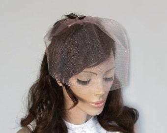 Pink Blusher Veil Mini Bridal Veil Alternative Wedding Unusual Tulle Modern Hair Fascinator Romantic Wedding, Girl irst Holy Communion Veil