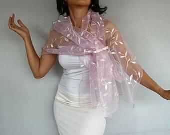 Bridal Shawl, Wrap, Bridal Shrug, Bolero Stole, Pink Roze Quartz Organza Wedding Dress Cover-up, Long Scarf, Embroidered Shoulder Wrap