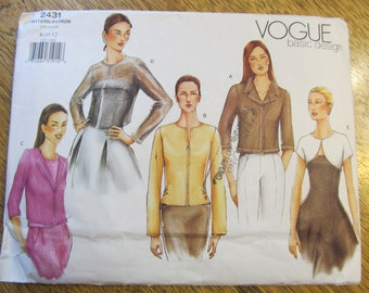 EASY Formal Jackets - Sheer Cover Up, Cute Bolero, Modernist Sleek Coat - Size (8 - 10 - 12) - UNCUT Sewing Pattern Vogue 2431