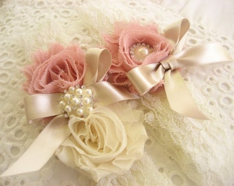 Vintage Rose Wedding Garter Set with Toss Garter Bridal Garter Heirloom Rose and Tea Stained Ivory with Rhinestones and Pearls