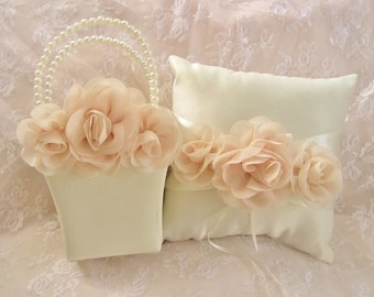 Blush Rose Flower Girl Basket and Ring Bearer Pillow  Blush Rose Blossom  Flower Girl Basket Blush Wedding