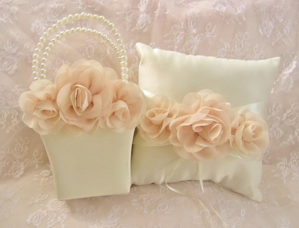 Flower Girl Basket Blush : Blush rose flower girl basket and ring bearer pillow