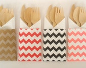 Wooden Utensils Chevron Stripe Bags, 8 sets..Pick your Color(s).. Silverware Bags...Wooden Spoons Wooden Forks Wooden Knives Wooden Cutlery