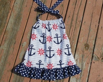 SALE - Girl's Toddlers Anchor Halter Dress - Ready To Ship Sale 2T