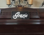 GRAZIE Thank You Sign Plaque Italian Wooden OOAK Hand Painted Italy Tuscany Home Decor You PIck Color
