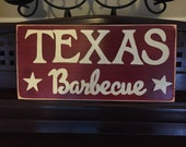 TEXAS BARBEQUE BBQ Southwest Cooking Kitchen Dining Sign Plaque Hand Painted Wooden Pick Color