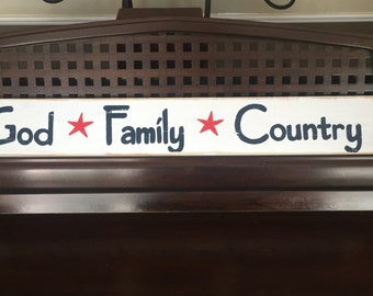 GOD FAMILY COUNTRY Sign Plaque Wooden Military Service Army Navy Marines Air Force Coast Guard Wall Decor Patriotic American 4th of July