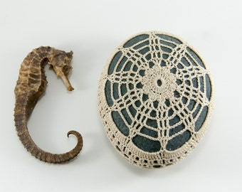 crochet lace stone, beach wedding, river rock, sea anemone, fiber art object, cream thread, country chic, wedding decor