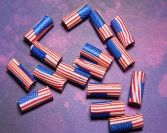 New 30 Polymer Clay Fimo American Flag USA Beads Tube 18mm  Red White Blue Stars