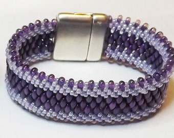 Purple Kumihimo Cuff Bracelet - Three shades of Purple with Magnetic Clasp
