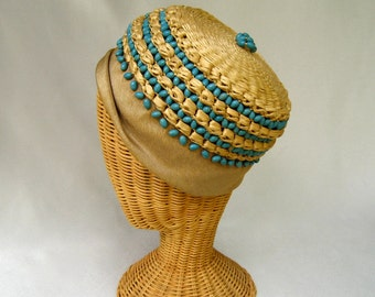 Vintage Ladies Hat Straw Linen Cloche Turquoise Blue Wood Beads