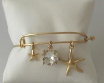 SALE - Star Fish Bracelet, Crystal Bangle Bracelet, Charm bangle Bracelet. Dangle Bracelet, Gold cuff, Gift for her, Gold Star bracelet