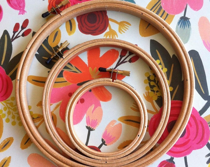 Featured listing image: wood embroidery hoops set of 3 - embroidery supplies -wood hoops various sizes