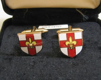 Vintage Sophos Red and White Enamel Fleur D' Lis Cuff Links