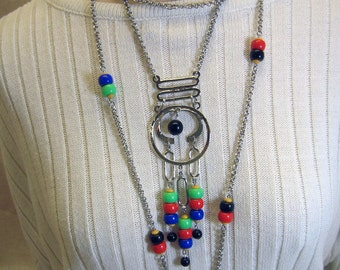 Wild and Crazy 1970s 2 Necklace and Earring Set