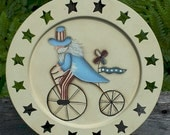 Uncle Sam, hand painted metal plate, star cutouts, 4th of July decoration, Americana, USAFAAP
