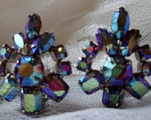 Clip Earrings Vintage Aurora Borealis Rhinestones Blue Marquis Cuts