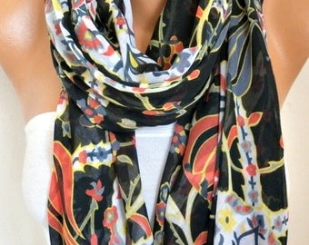 Black Tulip Cotton Scarf ,Summer Fashion,Soft, Shawl, Cowl, Oversized Wrap, Gift Ideas For Her, Women Fashion Women Scarves Bridesmaid Gift