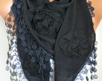 Black Cotton Floral Scarf, Summer Scarf Cowl Lace Shawl Necklace,Bridesmaid Gift, Gift Ideas For Her Women Fashion Accessories Scarves