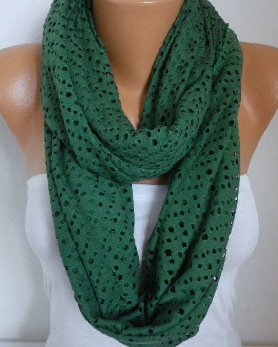 Green Tricot Filet Infinity Scarf Spring Summer Cowl Circle Loop Oversized Gift Ideas For Her Women Fashion Accessories Bridesmaid Gift