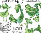 Birds of Paradise Clip Art, Green Watercolor Clipart, Green Clip Art, Instant Download, Commercial Use, Green Birds Clipart