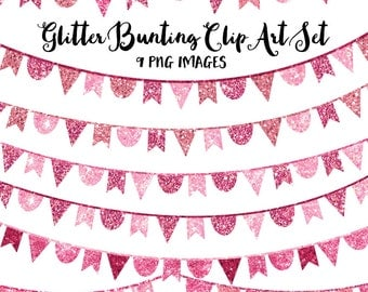 80% OFF SALE Pink Bunting Banner Clipart, Glitter Clip Art, Instant Digital Download Images for Commercial Use