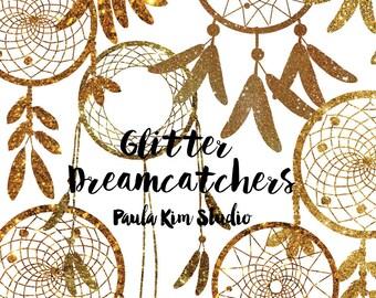 80% OFF SALE Dark Gold Glitter Dream Catcher Silouhette Glitter Clipart, Gold Glitter, Instant Digital Download, Commercial Use Images
