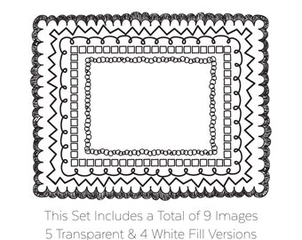 Clip Art Frames Hand Drawn Doodle Borders Instant Digital Download Graphics